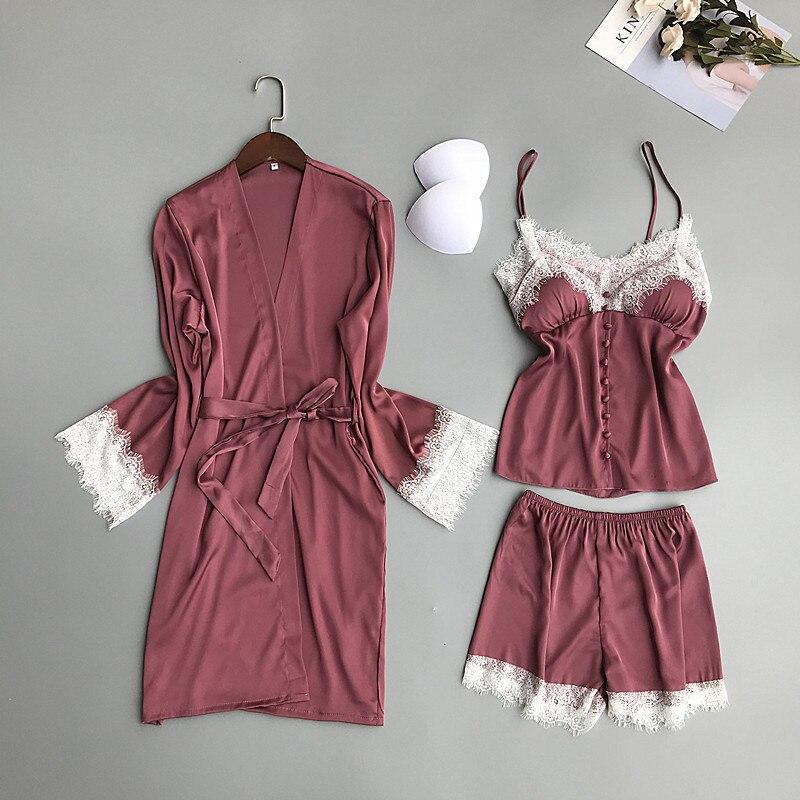 2019 Women   Pajamas     Sets   With Chest Pads 3 Pieces Satin Silk Sleep Lounge Nightwear Pyjama Sleepwear Pijama Spaghetti Strap Lace