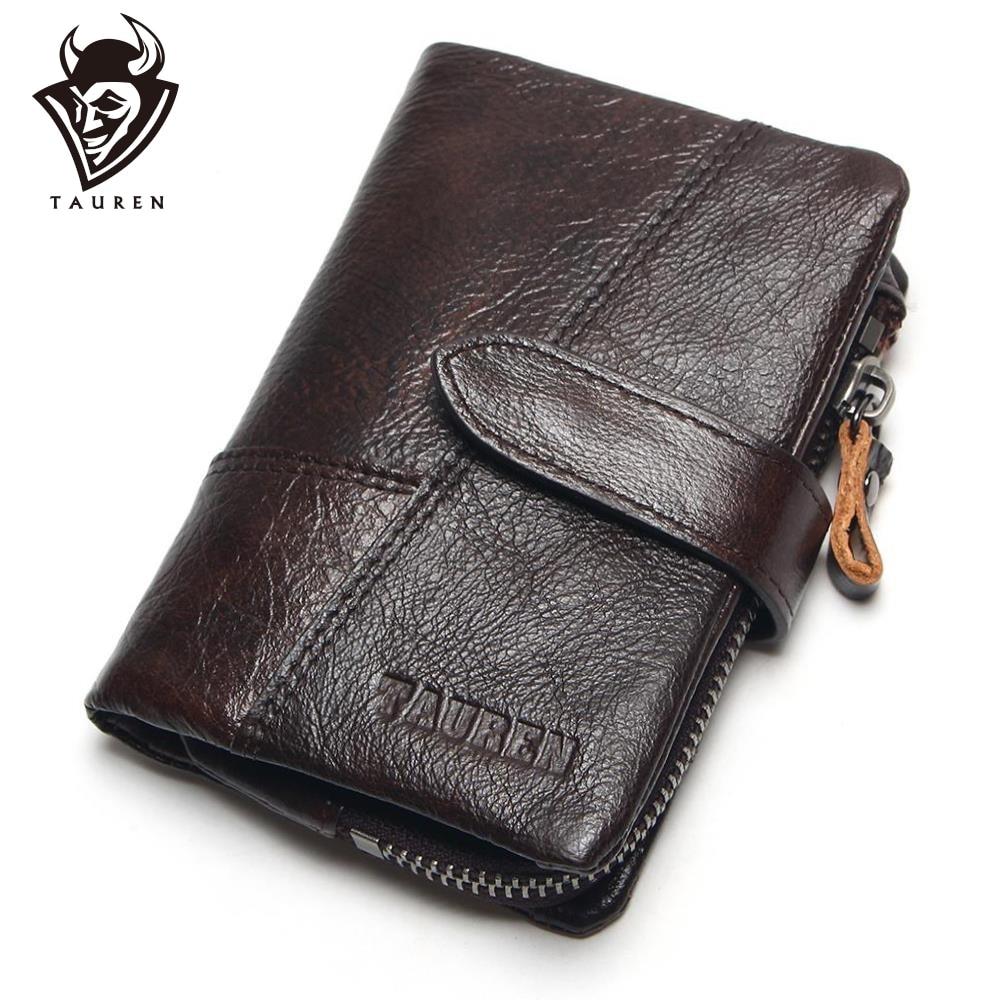 TAUREN OIL WAX Cowhide Genuine Leather Men Wallets Fashion Purse With Card
