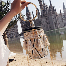 Japan Style Bucket Cylindrical Straw Bags Barrel-Shaped Woven Women Crossbody Metal Handle Shoulder Tote Bag sac a main