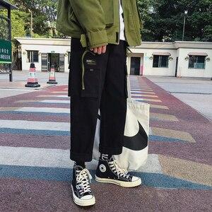 Image 2 - 2019 männer der Mode Baumwolle Lose Beiläufige Cargo Tasche Hosen Streetwear Schwarz/khaki Farbe Hose Jogger Jogginghose Größe M 2XL