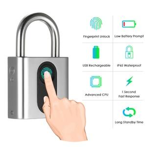 Image 1 - Smart Keyless Door Lock USB Rechargeable Fingerprint Lock IP65 Waterproof Anti Theft Security Padlock Luggage Case Backpack Lock