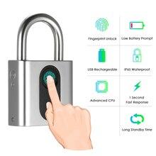 Умный дверной замок без ключа USB Перезаряжаемый замок отпечатков пальцев IP65 Водонепроницаемый Противоугонный защитный навесной замок для багажа Замок рюкзака