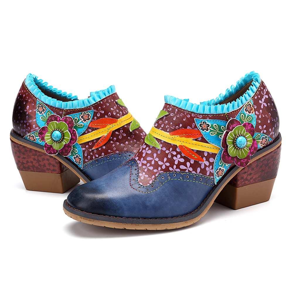 SOCOFY w stylu Vintage Bohemia prawdziwej skóry koniczyny wzór łączenie kolorowy kwiatowy koronkowy suwak wygodne pompy akcentem buty w Buty damskie na słupku od Buty na  Grupa 2
