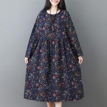New Fashion Print Floral Vintage Dress Cotton Linen O-neck Long Sleeve Loose Women Spring Autumn Casual Party Dresses Vestidos цена