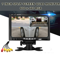 12/24V Universal 7 Inch 800 x 480 RGB Split Screen Quad Monitor 4CH Video Input Windshield Style Parking Dashboard