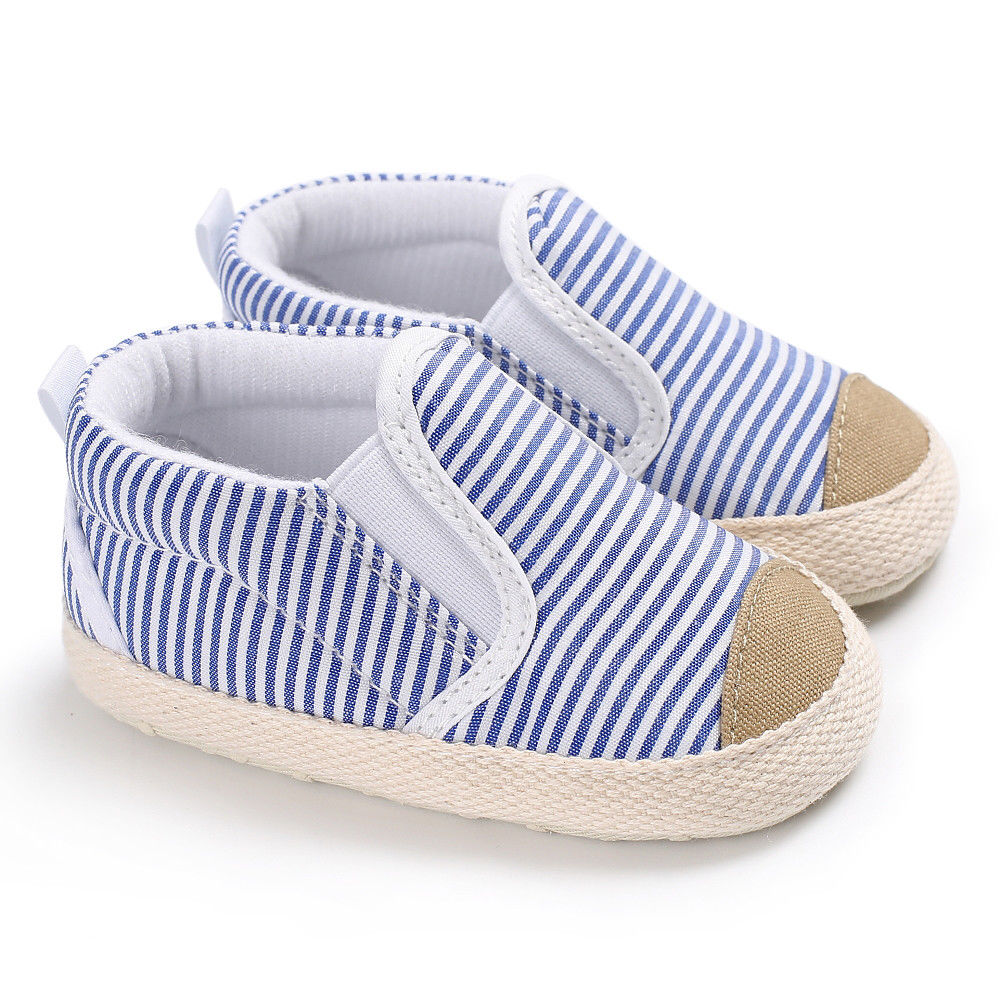 New Arrivals Infant Baby Girl Shoes Newborn Soft Sole Sneaker Cotton Crib Shoes Anti-slip Fashion Style Striped Canvas Shoes