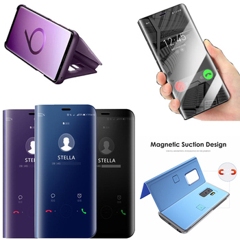 Smart Leather Flip Case For Samsung Galaxy Note 9 8 Clear View Mirror Case For Samsung S9 S9 Plus s8 S8 Plus S7 S6 Edge Cover