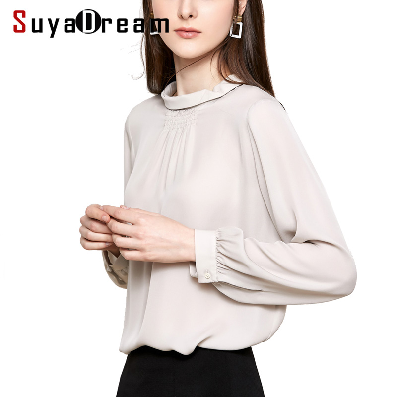 Women Silk Blouse 100 REAL SILK CREPE Solid Blouses for Women Stand Collar Beige Shirt 2019