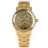 التلقائي الذاتي الرياح ساعة الفولاذ المقاوم للصدأ ساعات آلية الرجال الذهب اللون الساعات الفاخرة ساعة عادية هدايا reloj hombre
