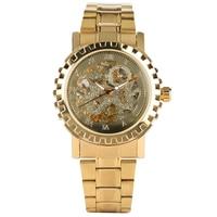 Mechanische Uhr Skeleton Automatische Uhr Männer Stahl Gold Band Automatische Business Stil Uhren Uhr Relogios Masculino-in Mechanische Uhren aus Uhren bei