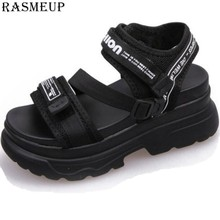 RASMEUP Gladiator Platform Women's Sandals 2019 Summer Fashion Women Chunky Beach Sandal Leather Comfortable Casual Woman Shoes