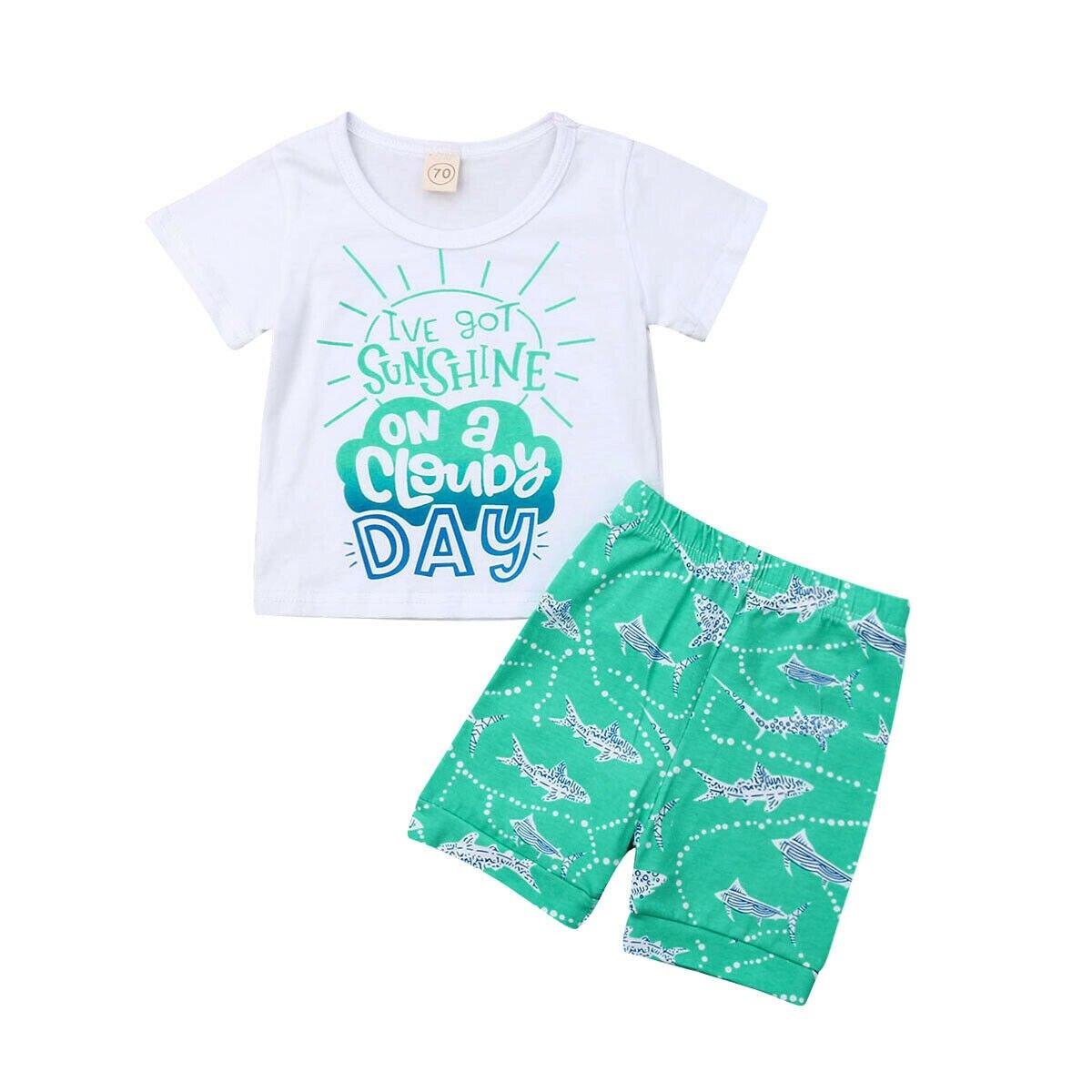 0-5y Kleinkind Kinder Baby Jungen Sommer Kleidung Kurzarm Baumwolle T-shirt Tops Shorts Hose 2 Pcs Outfits Beachwear Kleidung Set