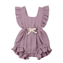 6 Color Cute Baby Girl Ruffle Solid Color Romper Jumpsuit Outfits Sunsuit for Newborn Infant Children Clothes Kid Clothing solid ruffle cami jumpsuit