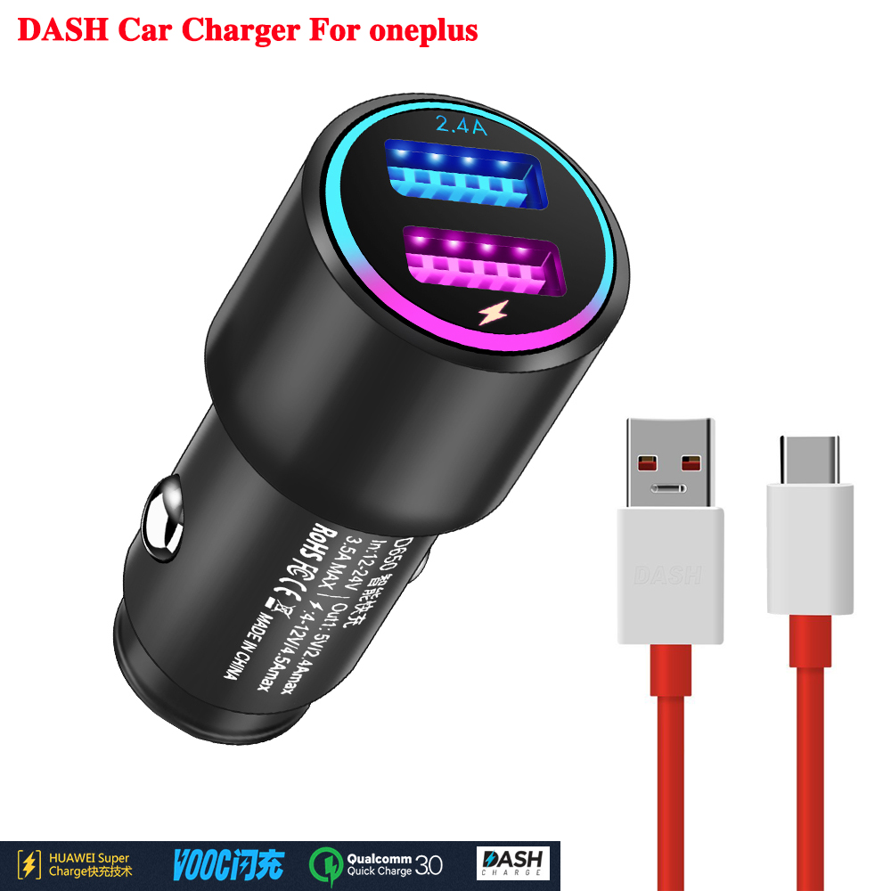 Oneplus car flash charger adapter for oneplue 3 3T 5 5T 6 6T Mobile phone DASH car charger dash Fast charging cable
