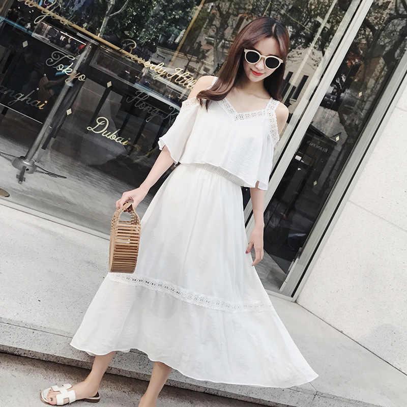 LANMREM 2019 новое модное платье с вырезами на бретельках женское сексуальное Летнее белое платье женская одежда Vestido YG80700