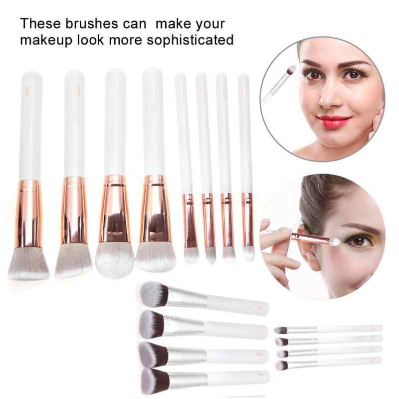 8Pcs/set Portable Makeup Brush Kit Foundation Eyeshadow Cosmetic Tool With Storage Bag