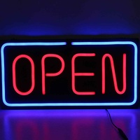 24X12 Glass Neon Open Sign Shop Store Bar Cafe Beer Business Light Bright Sign Business Commercial Lighting 100 240V 60*30cm