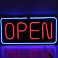 24X12 Glass Neon Open Sign Shop Store Bar Cafe Beer Business Light Bright Sign Business Commercial Lighting 100 240V 60*30cm