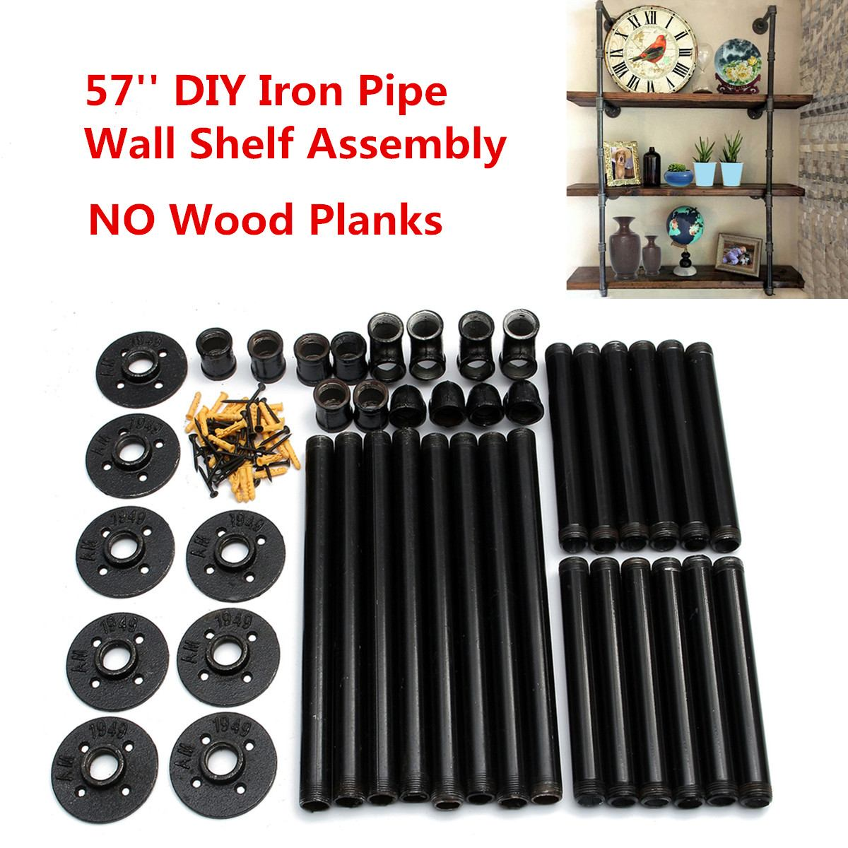 145cm Industrial Retro Bookshelf Black Wall Ceiling Mounted Wallshelf Open Bookshelf Parts Bracket 3 Layer Iron Pipe Shelf
