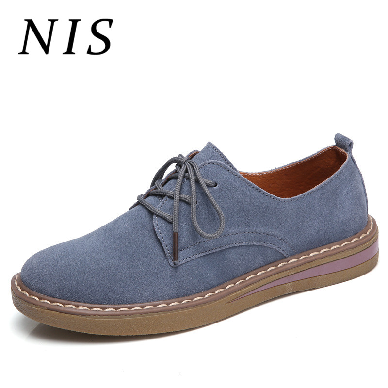NIS Flat Heel Vintage Women Oxford Shoes Woman Spring Summer Female Faux   Leather     Suede   Lace up Flats Retro School Oxford Shoes