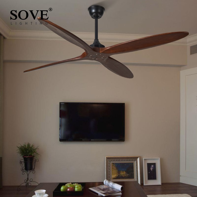Sove 60 Inch Wooden Ceiling Fan Wood Dc Remote Control Ceiling Fans Without Light Retro Fan Energy Saving Ventilador De Techo Ceiling Fans Aliexpress