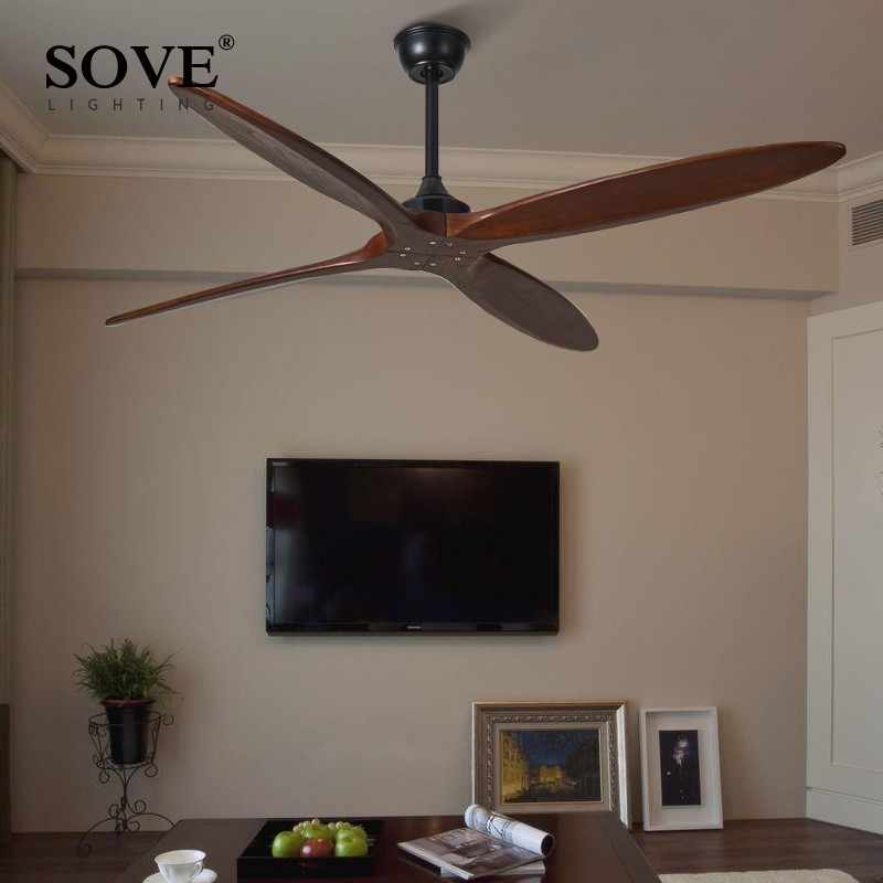 Sove 60 Polegada ventilador de teto madeira dc ventiladores de teto controle remoto sem luz retro ventilador poupança energia de techo