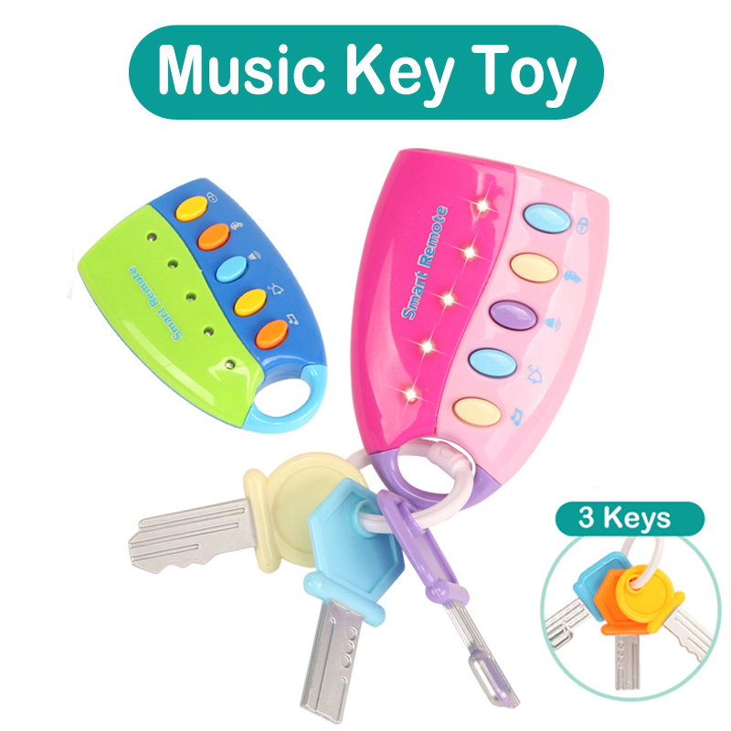 Stop Crying Comfort Baby Toy Musical Remote Car Key Toy Pretend Play Education Toy With Light & Music For Baby 13-24 Months