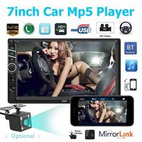 7 2 DIN MP5 Car Player Bluetooth Touch Screen Stereo Radio Camera Supports Android IOS System MirrorLink