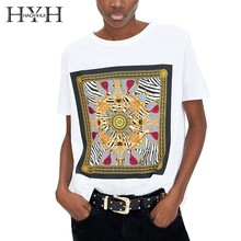 HYH HAOYIHUI  2019 Summer T-shirt New Simple Relaxed Casual Round Neck Print Short Sleeve