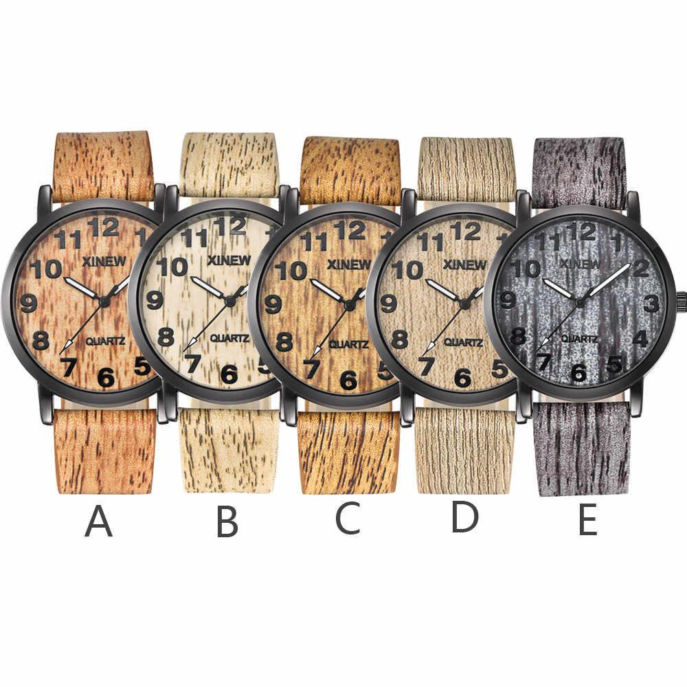 Masculino, hombres y mujeres reloj de textura de madera de imitación reloj de madera Retro cuero reloj de cuarzo impermeable reloj de pulsera Montre-21