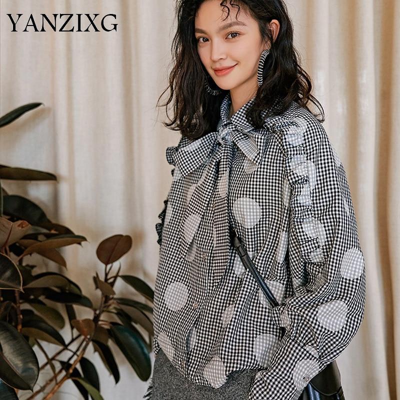 Women's Clothing Loyal 2019 Spring Summer New Fashion Blouse Lattice Dot Printing Long Sleeve Bow Collar Long Sleeve Shirt For Woman R644
