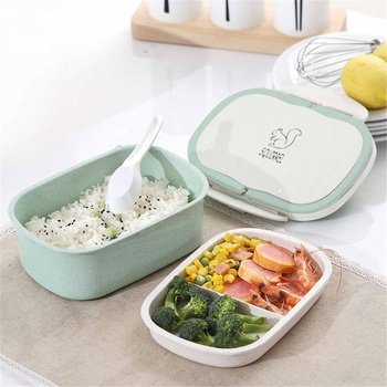 Wheat Straw Lunch Box Cartoon Bento Box Portable Eco-friendly keep Warm Food Storage Tableware Container For Kid Students School box