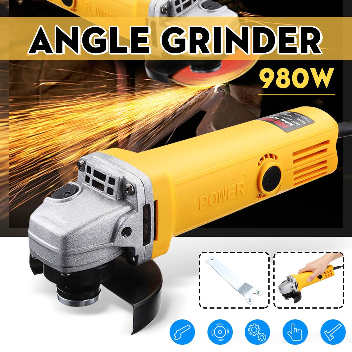 220V/50Hz 980W 11000r/min Angle Grinder Electric Angle Grinding Cutting Power Tools 100mm Diameter220V/50Hz 980W 11000r/min Angle Grinder Electric Angle Grinding Cutting Power Tools 100mm Diameter