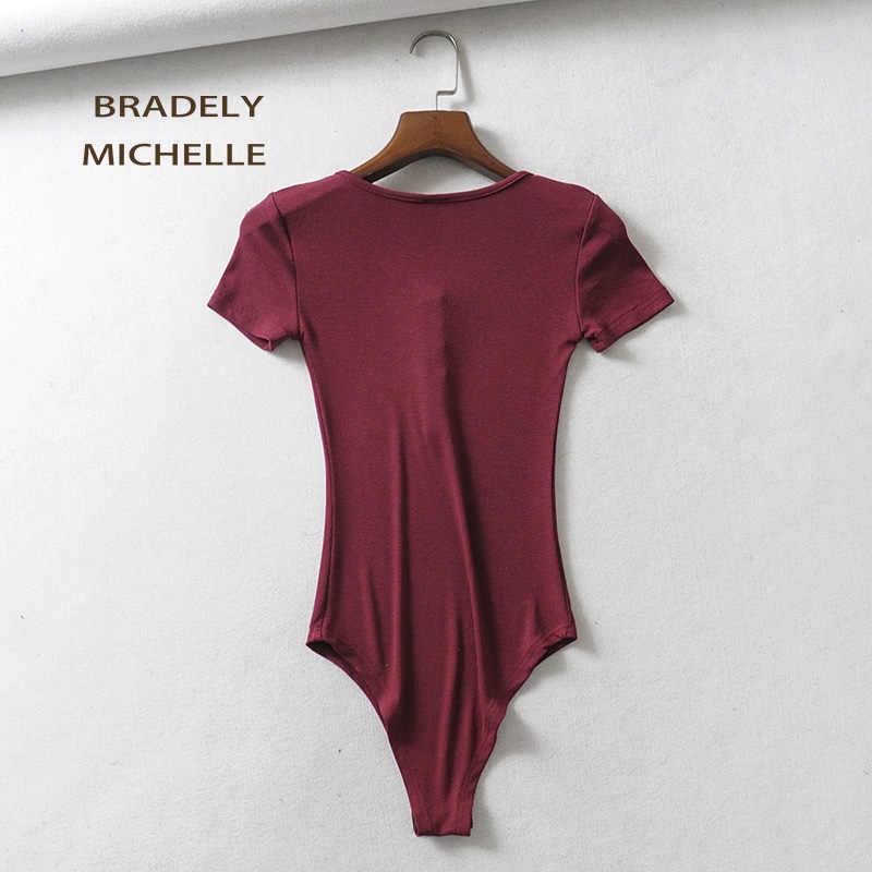 BRADELY MICHELLE Комбинезоны для женщин 2018 модные хлопковые топы сексуальный тонкий короткий рукав o-образным вырезом трикотажные боди Женская Клубная верхняя одежда