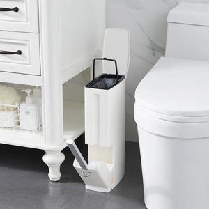 Nova lata de lixo de plástico estreito com escova de vaso sanitário conjunto banheiro lixo bin lixo latas balde de lixo organizador do saco de lixo