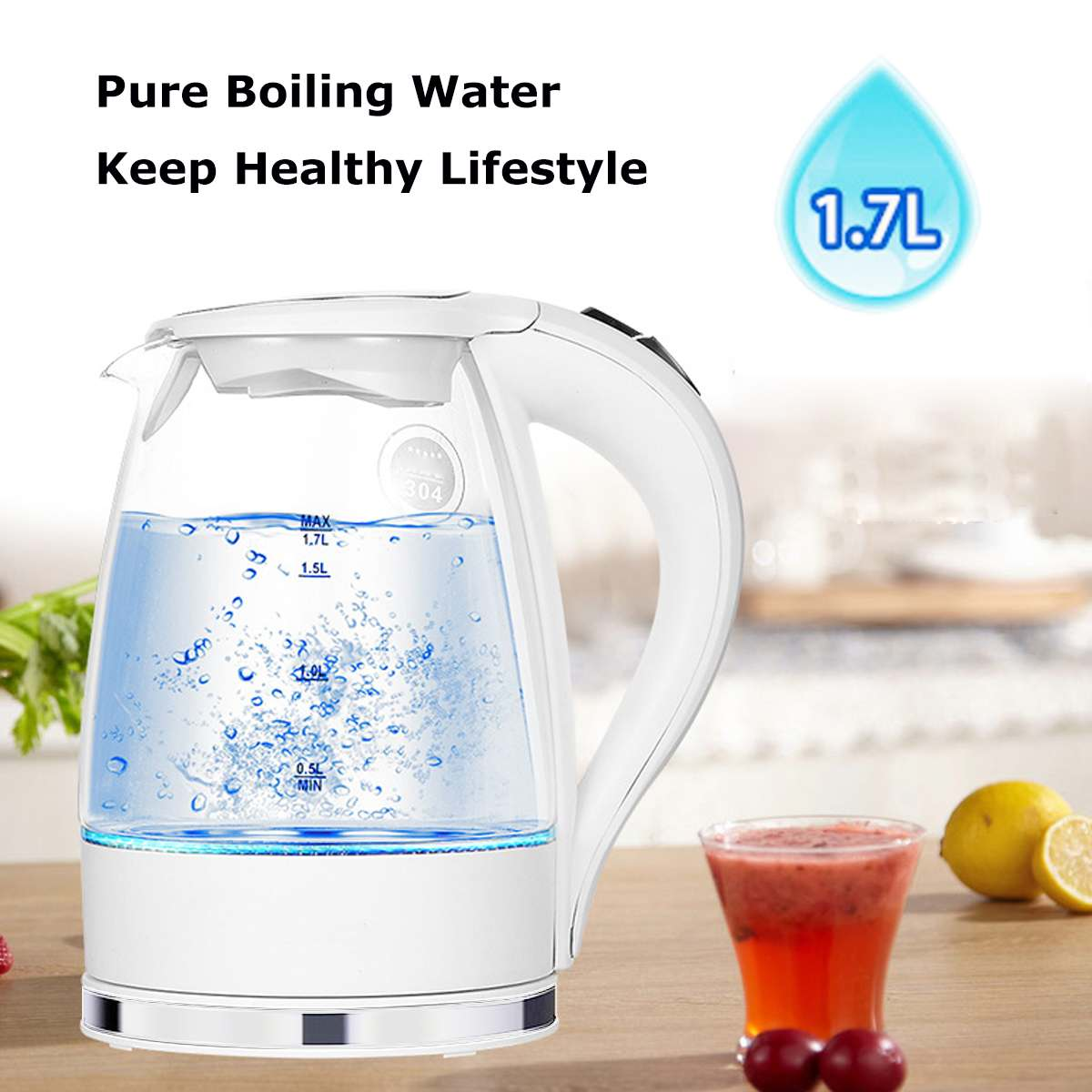 1.7L 2200W Blue LED Illuminated Glass Kettle Electric Rapid Boil Cordless Electric Kettle Electric kettle Teapot Smart Kettle Electric kettle