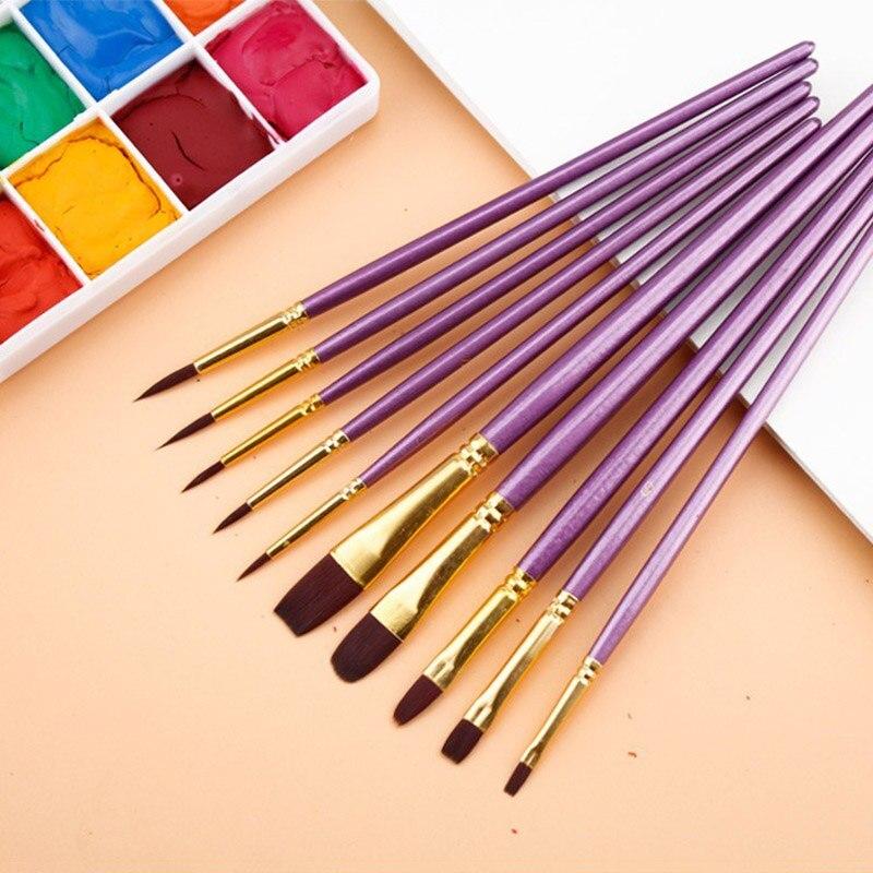 10Pcs/Lot Multifunction Nylon Watercolor Paint Brush Different Head Violet Handle Paint Brush Set For Oil Painting Art Supplies