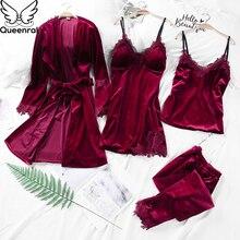 Queenral 4PCS Gold Velvet Warm Winter Pajamas Sets Women Sexy Lace Robe Sleepwear Long Sleeve Nightwear Homewear