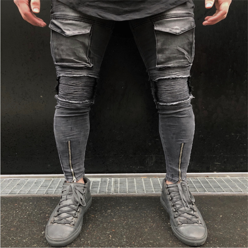 2019 Men Ripped Hole Biker   Jeans   Skinny Slim Frayed Zipper Denim Trousers Men New Fashion Casual Skinny   Jeans