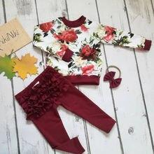 Топы с цветочным принтом для новорожденных девочек, рубашка, длинные штаны с оборками, повязка на голову, комплекты одежды