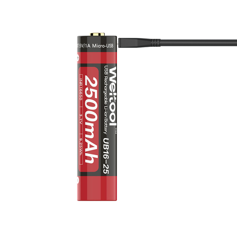LEORY Weltool UB16-25 1pc 3.7V 2500mAh <font><b>16650</b></font> USB <font><b>Battery</b></font> Rechargeable Flashlight Li-ion <font><b>Battery</b></font> image