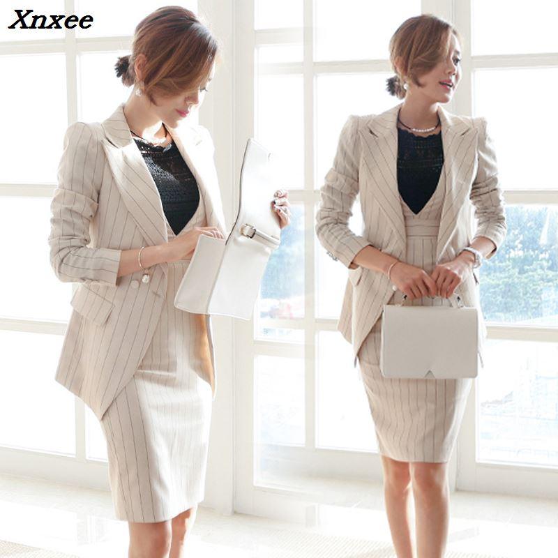 Office Lady Dress Suits Women Blazer Jacket + Fashion Sheath Dresses Two Pieces Set Business Suits Work Wear Blazer Coat Sets