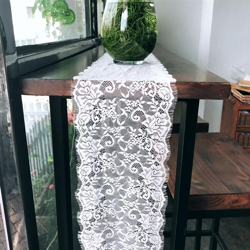 1 Pc Comfortabele Europese Stijl Wit Kant Comfortabele Tafelloper Voor Home Wedding Boho Party Decor