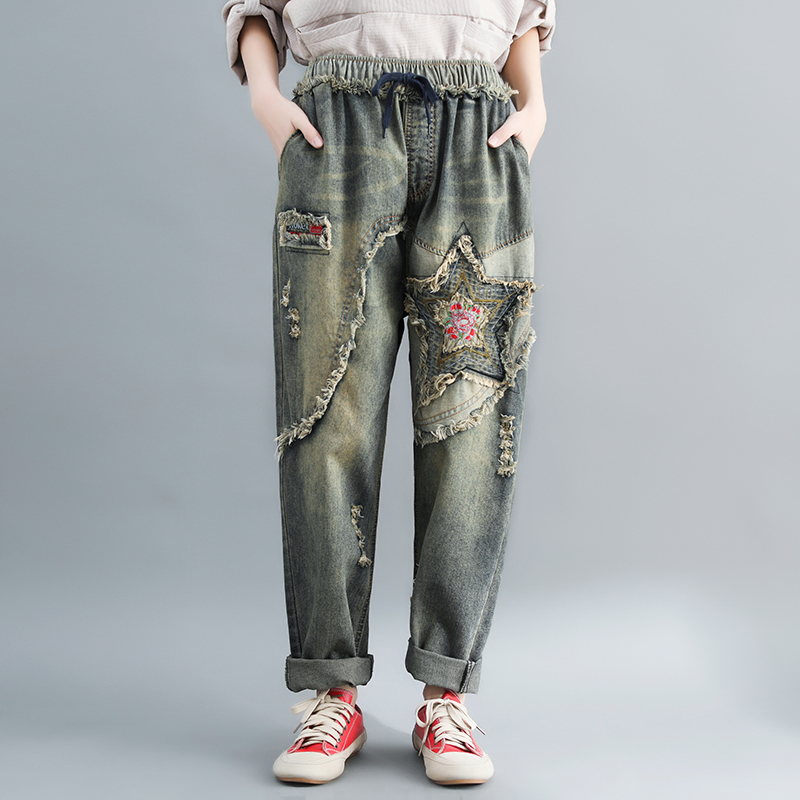 Old Star Patchwork High Waisted Distressed Jeans For Women Loose Boyfriend Jeans Rock Punk Embroidery Jeans Harem Denim Pants