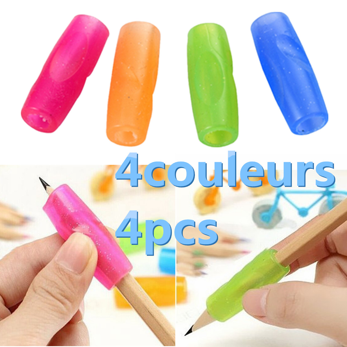 4pcs Soft Silicone Pencil Grip for kids Pupils Children Writing Handwriting \