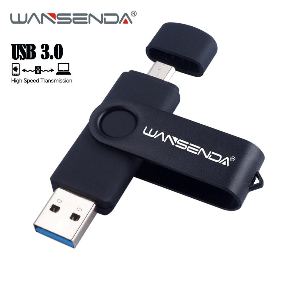 New WANSENDA USB 3.0 USB Flash Drive OTG Pen Drive 16GB 32GB 64GB 128GB Pendrive 256GB USB Memory Stick External Storage