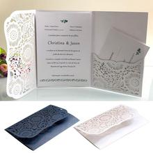 10pcs Laser Cut European style  Wedding Invitations Cards Tri-Fold Lace Business invitation Party Decoration