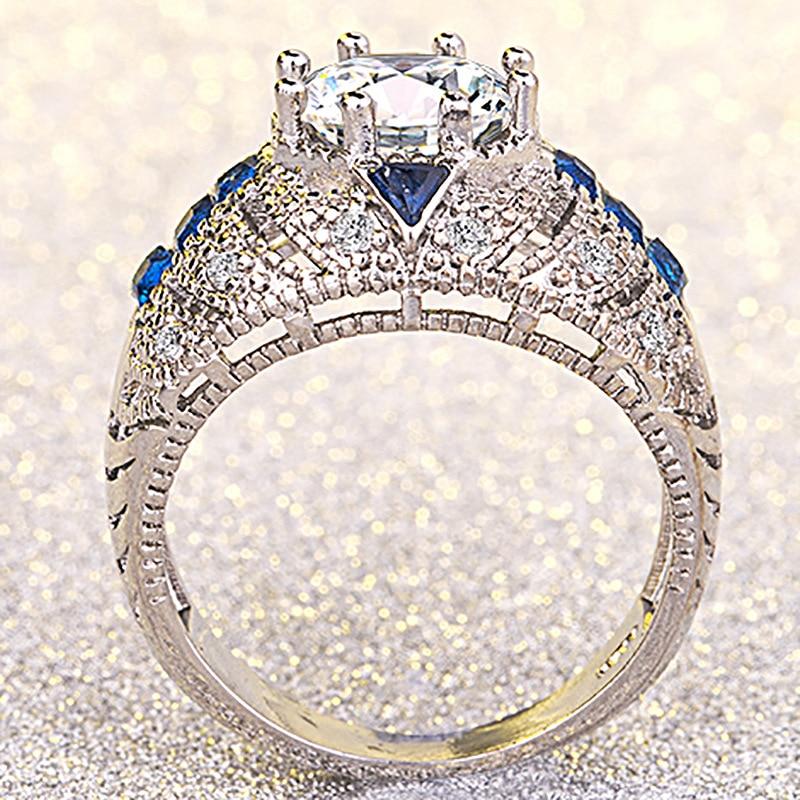 14K Gold Diamond Wedding Rings White Topaz Diamante Sapphire Anillos Bague Etoile Rings Bizuteria For Women Men Unisex Gemstone