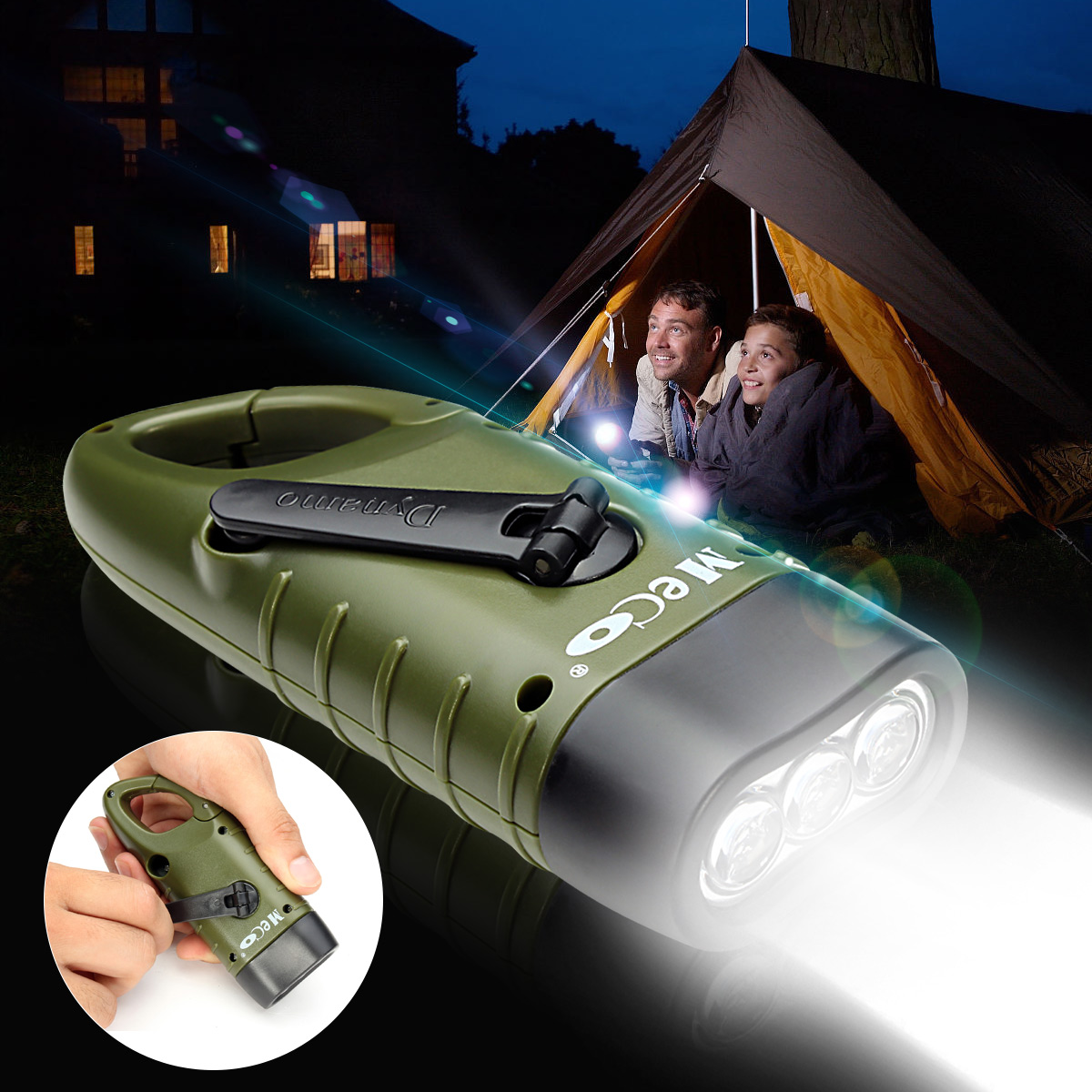 THORFIRE Mini Emergency Hand Crank Solar Flashlight Rechargeable LED Light Lamp Charging Powerful Torch For Outdoor Camping