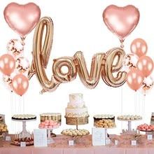 Wedding Decoration Confetti Balloon Latex Baloon Heart Shape Love Foil Ballon Marriage Events Happy Birthday